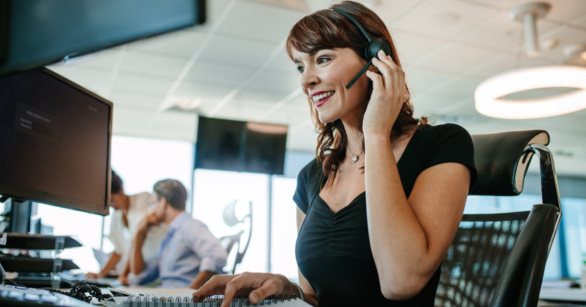 Call Center Agent at Workstation