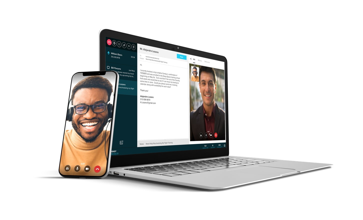 Lifesize CxEngage is shown with video enhanced features for both mobile and desktop