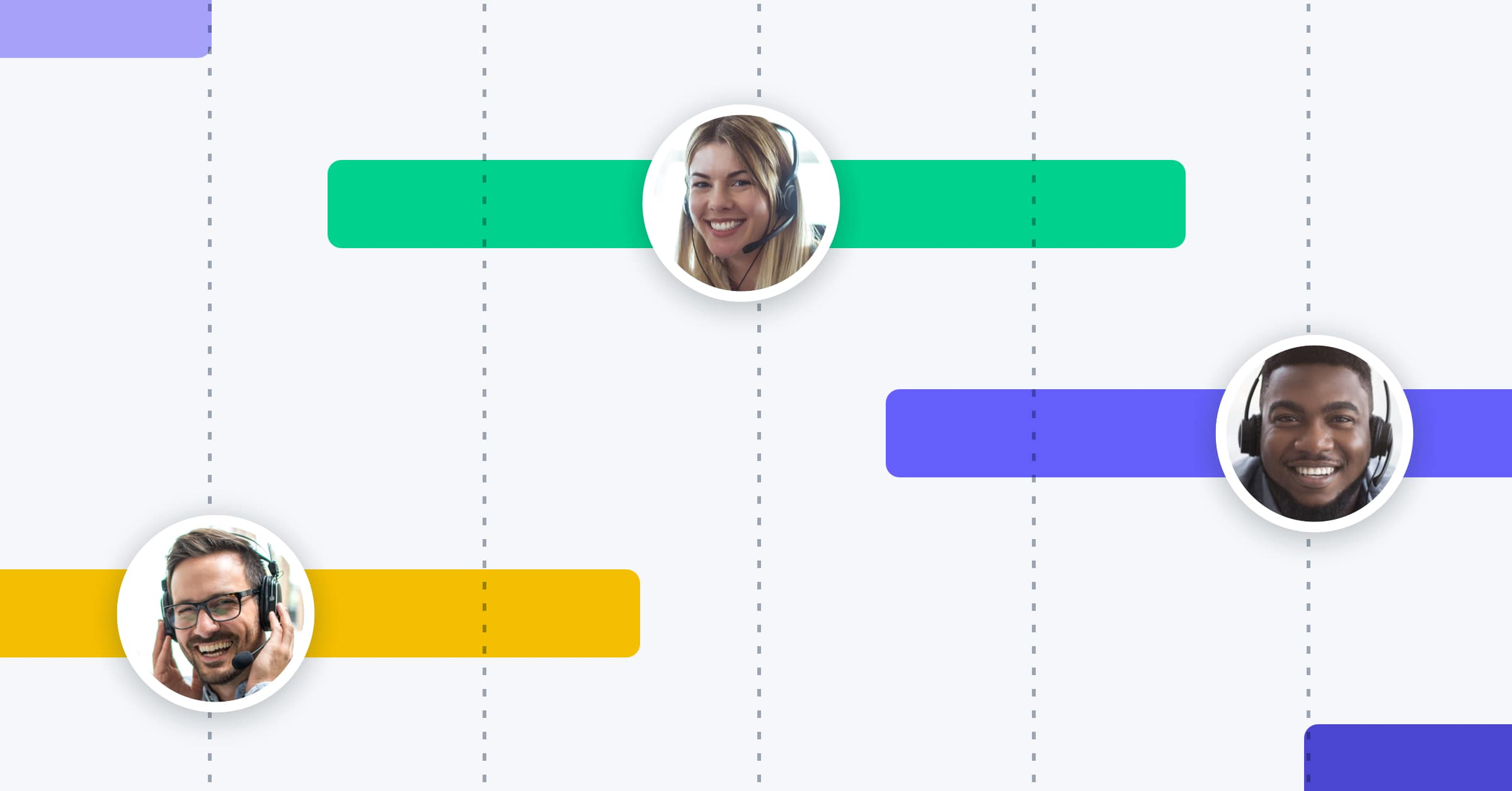 Graphic representing call center employees' work schedules on a calendar view